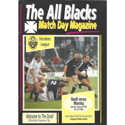 1991/92 Neath v Maesteg Rugby Union Programme