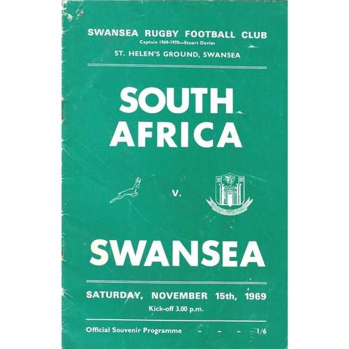 1969/70 Swansea v South Africa Tour Match Rugby Union programme