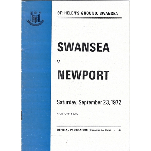 Newport Away Rugby Union Programmes