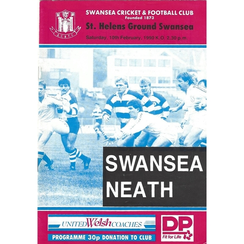 1989/90 Swansea v Neath Rugby Union programme