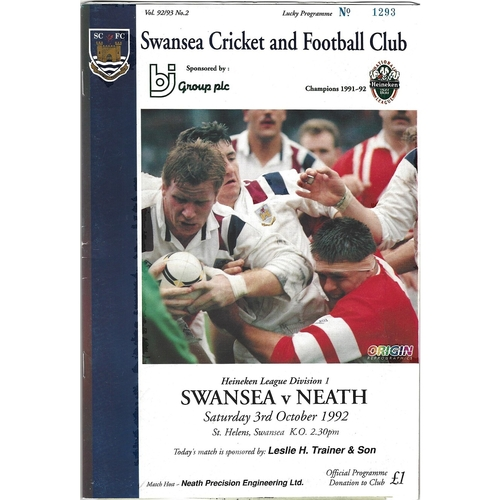 1992/93 Swansea v Neath Rugby Union Programme