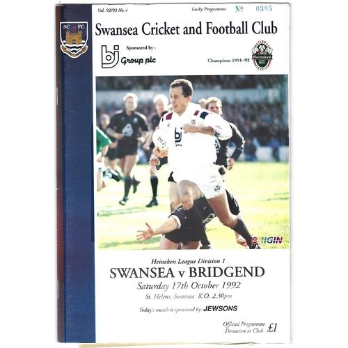 1992/93 Swansea v Bridgend Rugby Union Programme