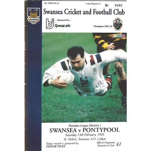 1992/93 Swansea v Pontypool Rugby Union Programme