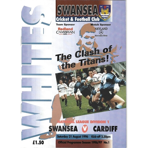 1996/97 Swansea v Cardiff Rugby Union Programme