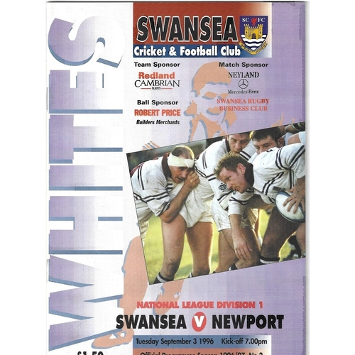 1996/97 Swansea v Newport Rugby Union Programme