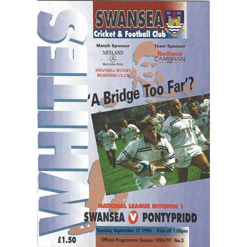 1996/97 Swansea v Pontypridd Rugby Union Programme
