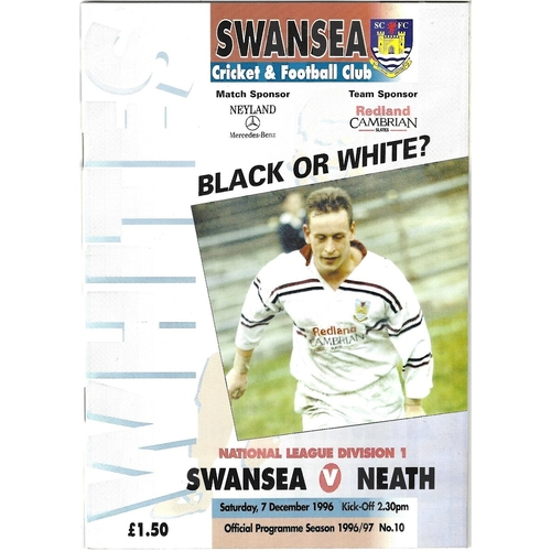 1996/97 Swansea v Neath Rugby Union Programme
