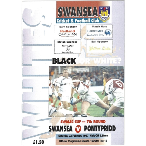 1996/97 Swansea v Pontypridd WRU Challenge Cup (SWALEC) 7th Round Rugby Union Programme & Match Ticket