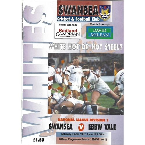Ebbw Vale Away Rugby Union Programmes