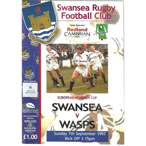 1997/98 Swansea v Wasps Rugby Union Programme