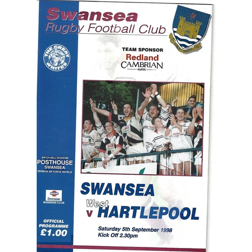 1998/99 Swansea v West Hartlepool Rugby Union Programme