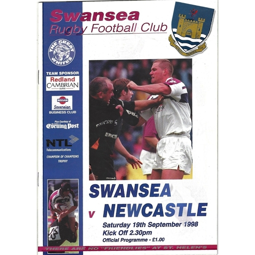 1998/99 Swansea v Newcastle Rugby Union Programme
