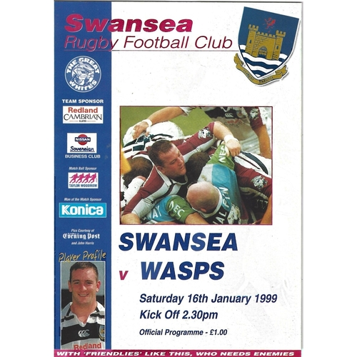 1998/99 Swansea v Wasps Rugby Union Programme