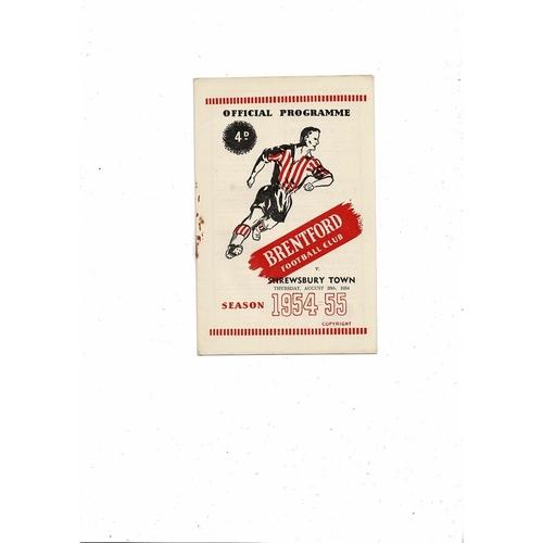1954/55 Brentford v Shrewsbury Town Football Programme