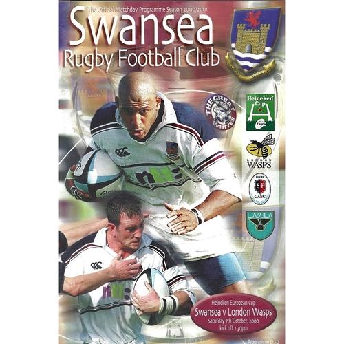 2000/01 Swansea v London Wasps Heineken European Cup Rugby Union Programme