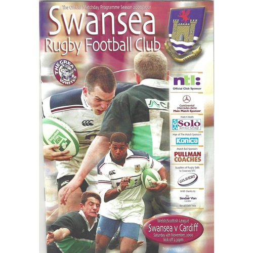 2000/01 Swansea v Cardiff Rugby Union Programme
