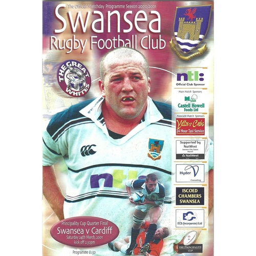 2000/01 Swansea v Cardiff Principality Cup Quarter Final Rugby Union Programme