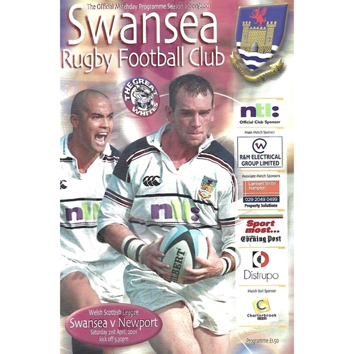 2000/01 Swansea v Newport Rugby Union Programme