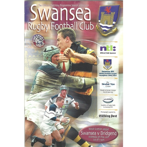 2000/01 Swansea v Bridgend Rugby Union Programme
