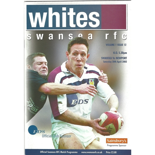 2001/02 Swansea v Newport Rugby Union Programme