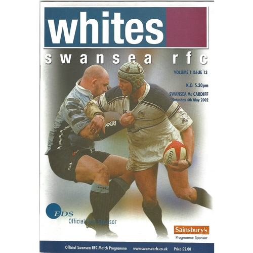 2001/02 Swansea v Cardiff Rugby Union Programme