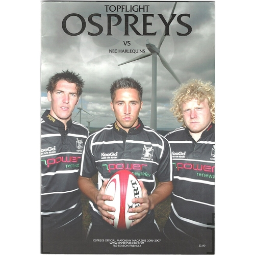 2006/07 Ospreys v NEC Harlequins Rugby Union Programme