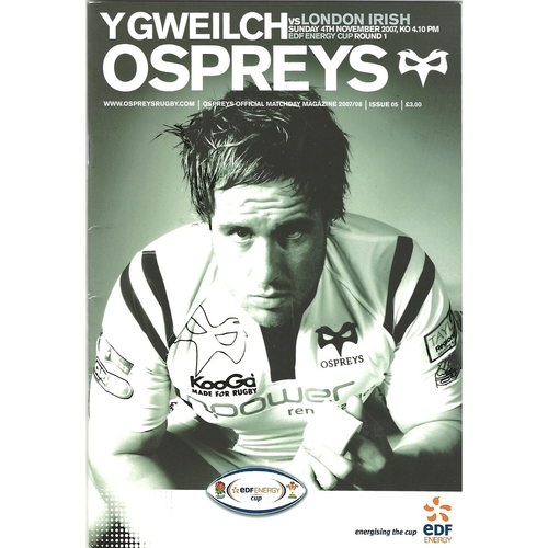 2007/08 Ospreys v London Irish EDF Energy Cup 1st Round Rugby Union Programme