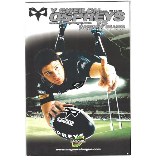 2008/09 Ospreys v Cardiff Blues Rugby Union Programme