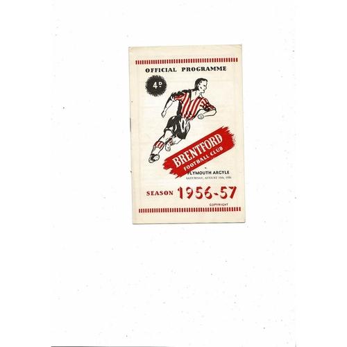 1956/57 Brentford v Plymouth Argyle Football Programme