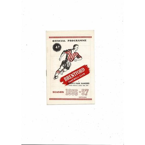 1956/57 Brentford v Queens Park Rangers Football Programme