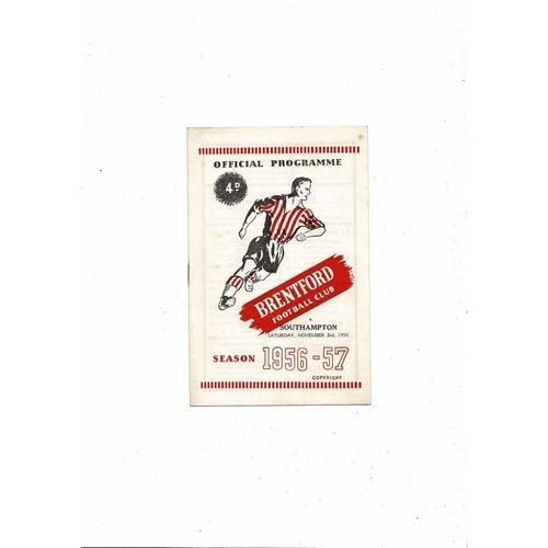 1956/57 Brentford v Southampton Football Programme