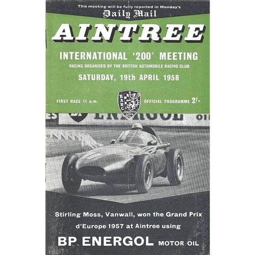 """1958 Aintree International """"200"""" Meeting (19/04/1958) motor racing programme"""
