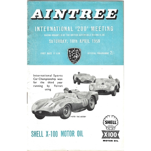 "1959 Aintree International ""200"" Meeting (18/04/1959) motor racing programme"