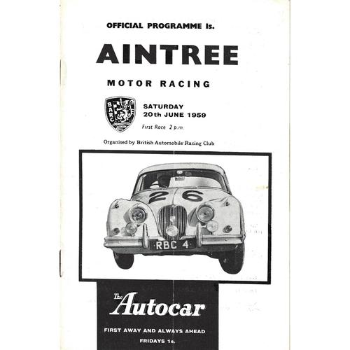 1959 Aintree B.A.R.C 7th Members Meeting (20/06/1959) motor racing programme