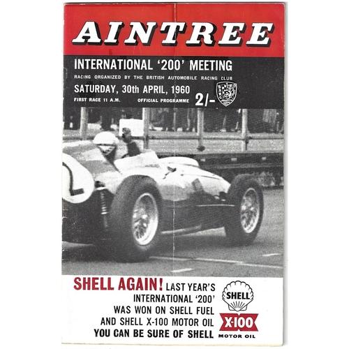 """1960 Aintree International """"200"""" Meeting (30/04/1960) motor racing programme"""
