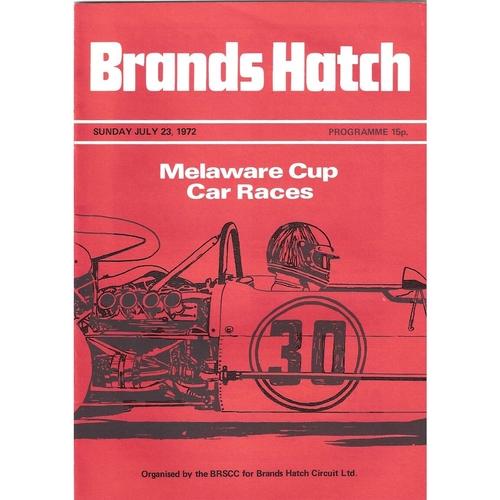 1972 Brands Hatch Melaware Cup Car Races (23/07/1972) motor racing programme
