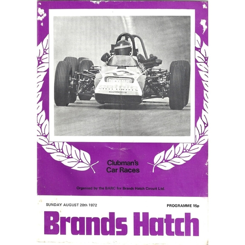 1972 Brands Hatch Clubman's Car Races (20/08/1972) motor racing programme