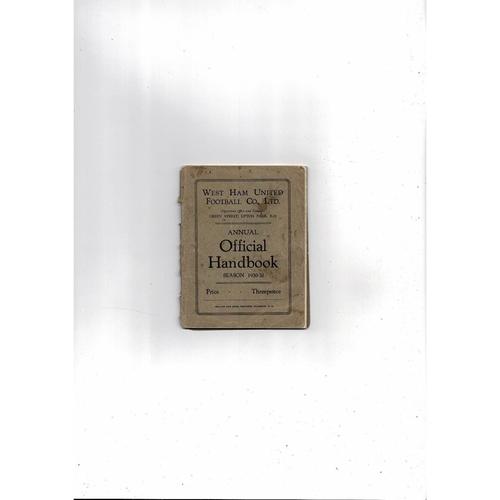 1930/31 West Ham United Official Football Handbook