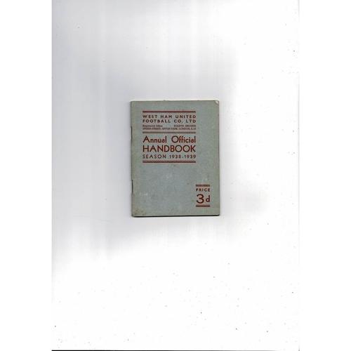 1938/39 West Ham United Official Football Handbook
