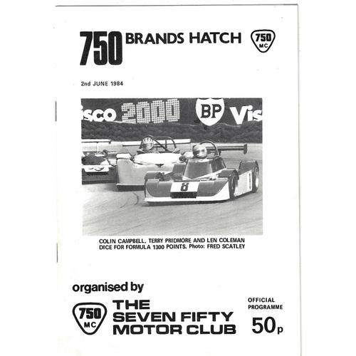 1984 Brands Hatch The Seven Fifty Motor Club Meeting (02/06/1984) motor racing programme