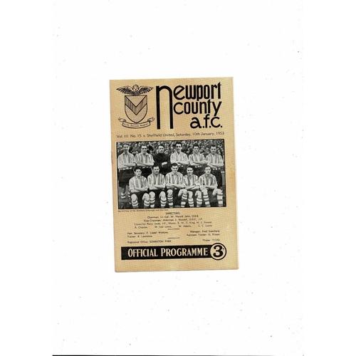 1952/53 Newport County v Sheffield United FA Cup Football Programme