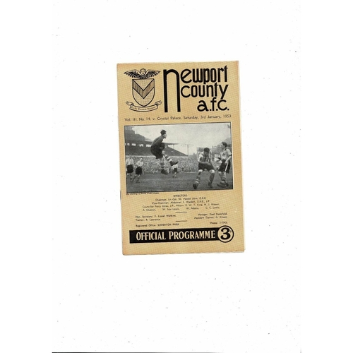 1952/53 Newport County v Crystal Palace Football Programme