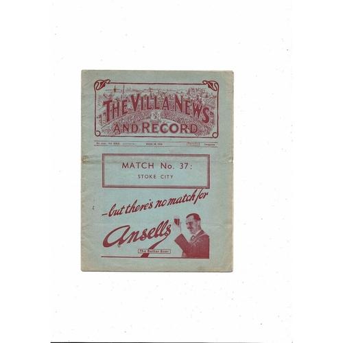 1938/39 Aston Villa v Stoke City Football Programme