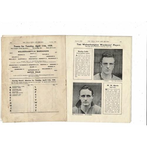 1938/39 Aston Villa v Wolves + Preston & Huddersfield Res + Hinckley Programme