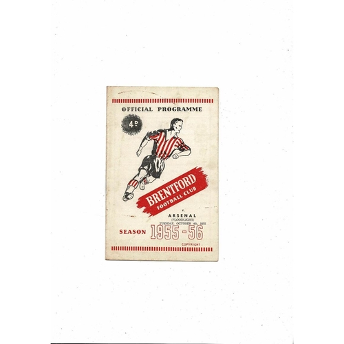 Brentford v Arsenal Floodlight Friendly Football Programme 1955/56