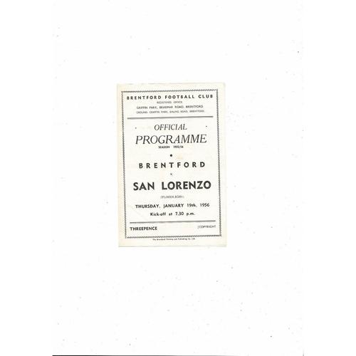 Brentford v San Lorenzo Floodlight Friendly Football Programme 1955/56