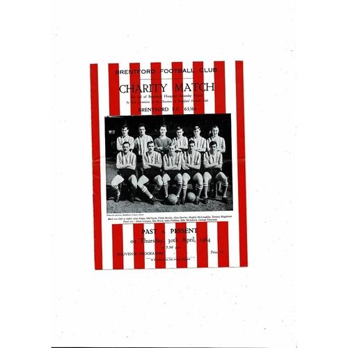 Brentford Past v Present Charity Match Football Programme 1963/64