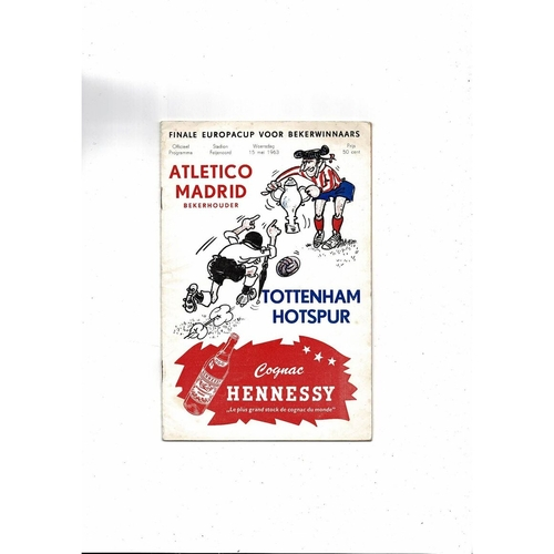 1963 Athletico Madrid v Tottenham Hotspur European Cup Winners Cup Final Programme