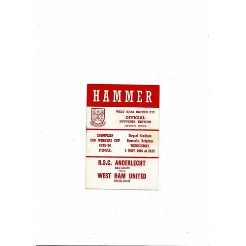 1976 Anderlecht v West Ham United European Cup Winners Cup Final Football Programme. West Ham Edition