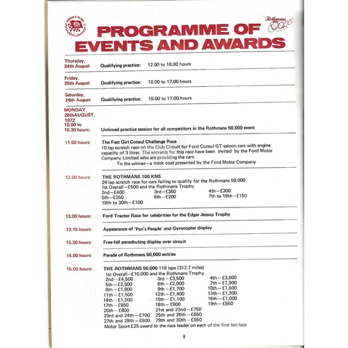 1972 Brands Hatch Rothmans 50,000 Meeting (28/08/1972) motor racing programme & Entry List & Lap Chart Brochure